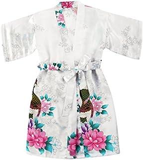 WONDERFIT Girls Stain Kimono Peacock Flower Robe for Spa Wedding Birthday