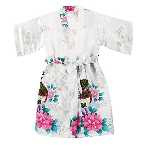 FAYBOX BRIDAL, vestaglia satinata per bambina stile kimono, con pavoni e fiori, adatta per spa, età dai 2 ai 12 anni White 3-4 Anni