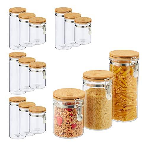 Relaxdays 15 x Vorratsglas, Volumen 1,5l, 1l, 750ml, Glas & Bambus, Bügelgläser für Küche, luftdicht, für Pasta Müsli, transparent
