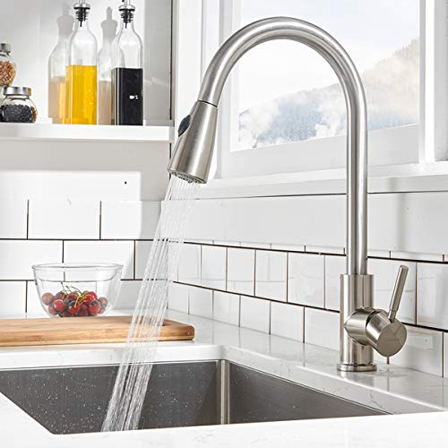 Comllen Commercial Single Handle High Arc Brushed Nickel Pull Out Kitchen Faucet,Single Level Stainless Steel Kitchen Sink Faucets with Pull Down Sprayer Without Deck Plate