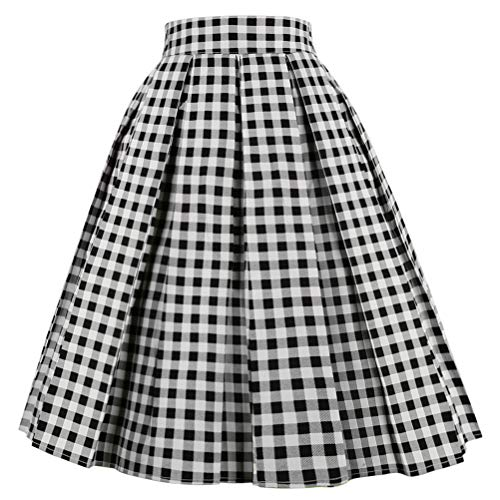 OBBUE Dresstore Vintage Pleated Skirt Floral A-line Printed Midi Skirts with Pockets Black-White-Plaid-XX-L