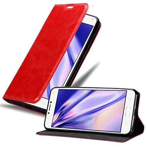 Cadorabo Hülle für Asus ZenFone 4 MAX (5,2 Zoll) - Hülle in Apfel ROT – Handyhülle mit Magnetverschluss, Standfunktion & Kartenfach - Hülle Cover Schutzhülle Etui Tasche Book Klapp Style