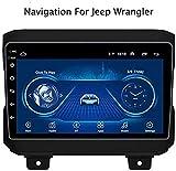 Lour Android 8.1 GPS Navigation Radio TV, Radio Voiture écran Tactile de 9 Pouces, pour Jeep Wrangler 2018, avec Le contrôle du Volant CD Dab + DVD Bluetooth USB FM AM, 4G + WiFi, 1 + 16G.
