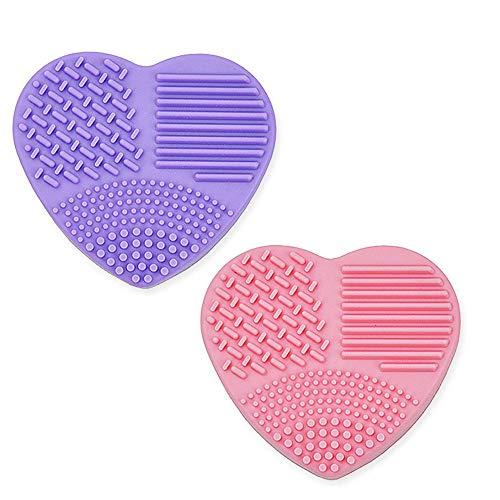 2 Piezas Estera de Limpieza de Cepillo Cosmético de Silicona,Limpiador de Pinceles de Maquillaje,con Esponja de Eliminación de Color, Huevos de Cepillo de Esponja de Limpieza Rápida Secos y Húmedos