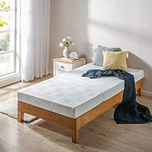 Comfort and support from 1 inch Memory Foam, 2 inches Viscolatex Responsive Foam, 1 inch High-density Base Support Foam Twin size The Tri-Fold Comfort Mat is rolled and snugly packed to efficiently arrive at your home Zinus memory foam, BioFoam, is i...