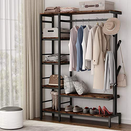 Tribesigns Free-standing Closet Organizer with Hooks Heavy Duty Clothes Storage Garment Rack with Shelves and Hanging Rod Metal Closet Storage Organizer for Bedroom Capacity 300lb Rustic