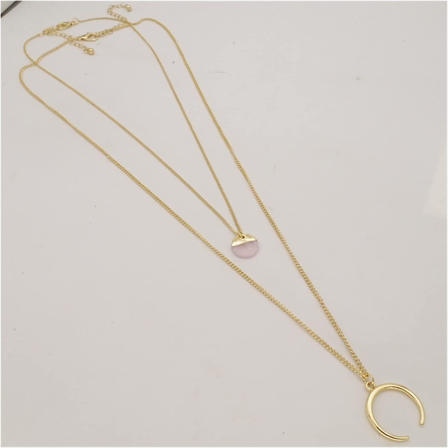 Stone Pendant Necklaces Woman Double Layered Collar Chain Necklace Accessories Pendant