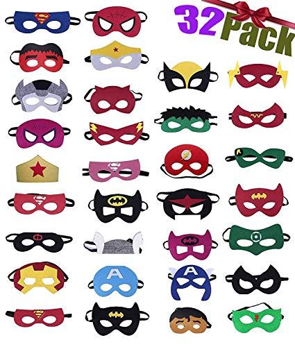 32 Piezas Máscaras de Superhéroe,Suministros de Fiesta de