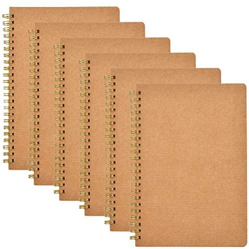 POKIENE 6pcs A5 Drawing Book, Spiral Binding Drawing Book with Kraft Cover, Paper Sketch Book, Material de Dibujo con Páginas en Blanco, Se Adapta a Lápiz Art Marker Pen -60 Páginas