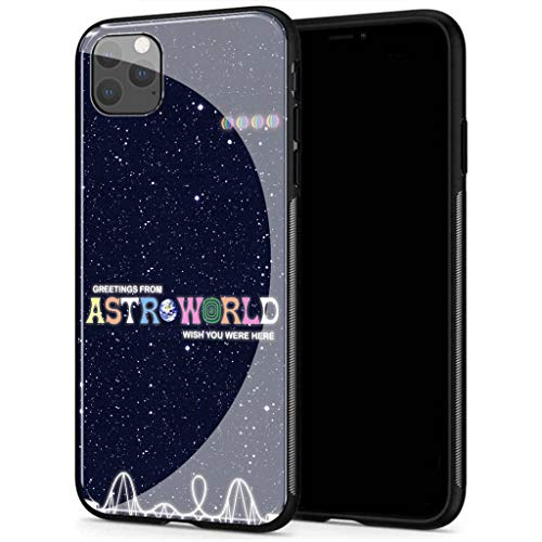 Compatible with iPhone 12 Case, Tempered Glass Back Cover Soft Silicone Bumper, AMB-2 Astroworld Travis Scott