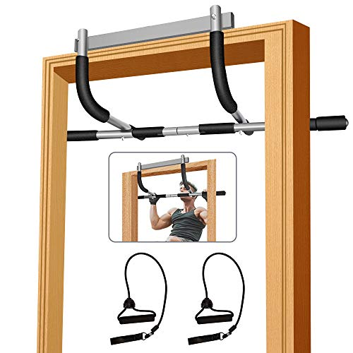 Pull up bar for Doorway,Heavy Duty Door Pull Up Bar Upper Body Equipment Workout Bar Chin Up Bar Iron Gym Pull Up Bar Exercise Bar No Screws with Bonus String for Men