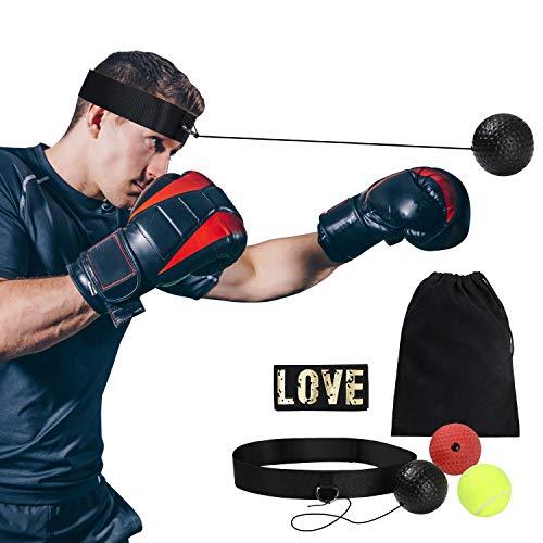 flintronic Boxtraining Reflexball, Boxen Training Ball, Trainingsgerät Speedball, für Boxtraining Zuhause und Outdoor, mit 1*Kopfband, 3* Kampfball