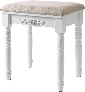 Modern Simple Solid Wood Makeup Stool, Padded Dressing Stool, Fabric Small Dining Table Stool, Shoe Bench, Rubber Wooden Legs, Embossed Rose, European Creative Home Stool