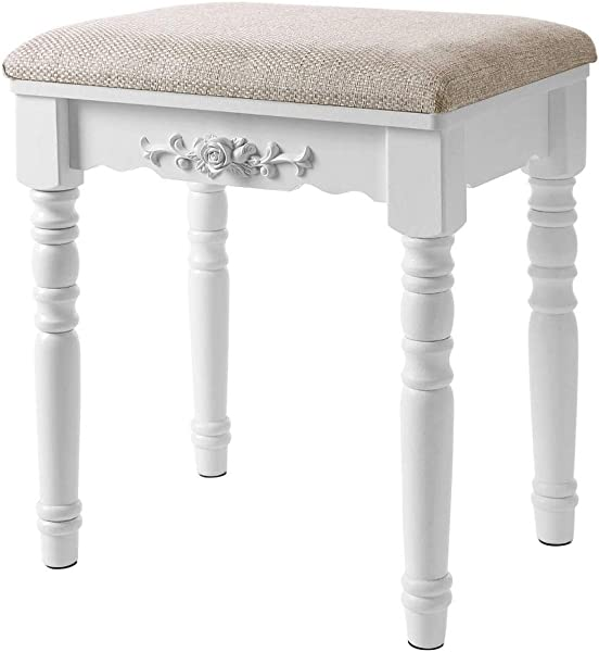 Modern Simple Solid Wood Makeup Stool Padded Dressing Stool Fabric Small Dining Table Stool Shoe Bench Rubber Wooden Legs Embossed Rose European Creative Home Stool