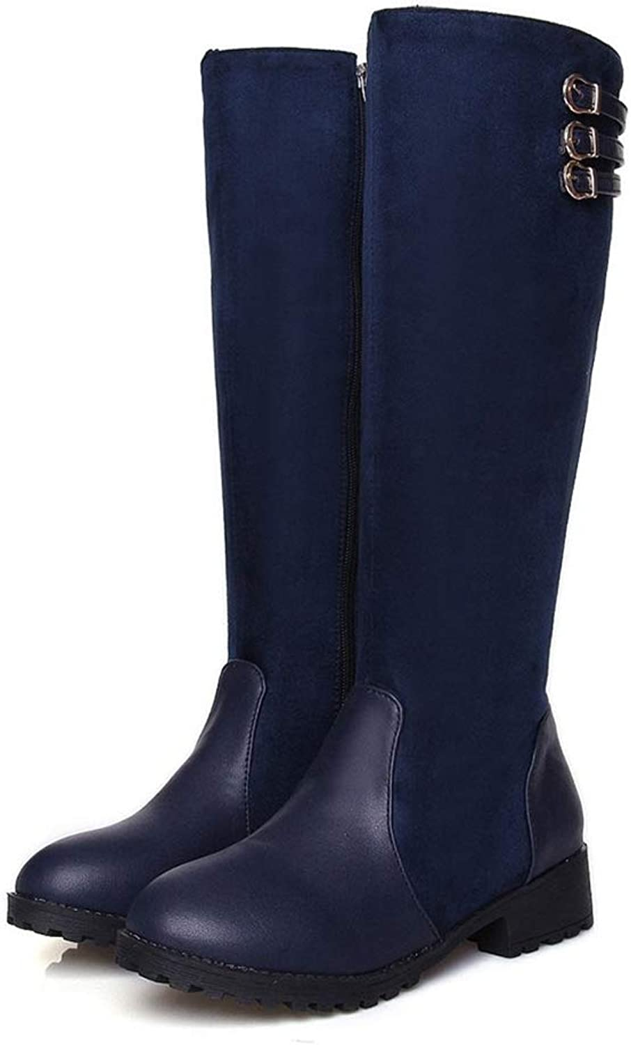 Hoxekle Woman Knee High Boots Zipper Buckle Strap Low Square Heel Winter Warm Fashion Ladies Riding Sexy Long Boots