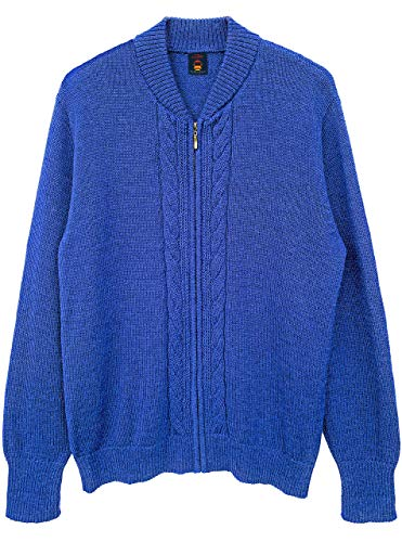 Inca Fashions - Original Mister Rogers Zip Up Cardigans for Men & Women   100% Alpaca Wool (Double Cable Blue, 4 W-XL/M-L)