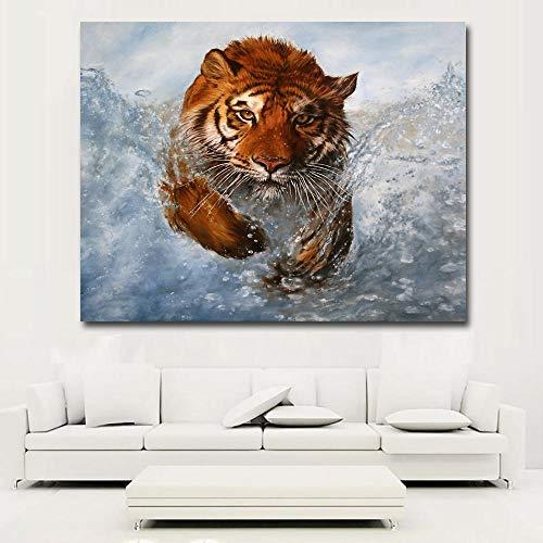 Zqylg HD Animal Painting Tiger Running In Water Wall Art Prints Imágenes impresas en lienzo Art Print Posters para la decoración de la sala de estar Pintura de pared 20x24 pulgadas Sin marco