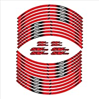 ステッカー スズキSV650用 オートバイ 防水ステッカー20個ホイールリムハブステッカーフロントリア反射デカール デカール (Color : Red)