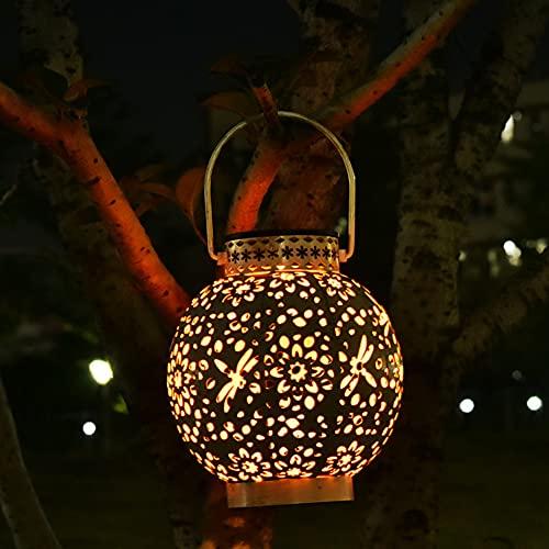 i-Found Lámparas solares exteriores llevadas linterna solar estilo árabe luz decorativa solar para jardín impermeable colgante linterna solar lámpara decorativa al aire libre para patio césped