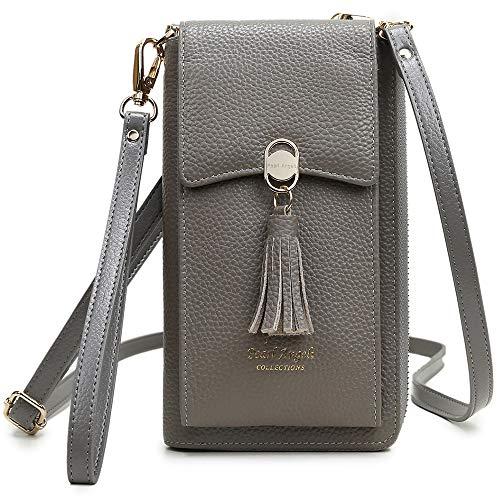 Pearl Angeli Weiches Echtes Leder Handy Umhängetasche - Handytasche Geldbörse Damen RFID Schutz kleine Crossbody Tasche (Grau)