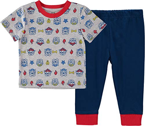 Nickelodeon Baby Boys' Paw Patrol 2 Piece Bodysuit and T-Shirt Shortall Set, Grey/Blue/Red, 0-3 Months