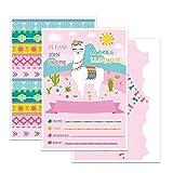 WERNNSAI Invitaciones de la Fiesta de Tema Llama Rosada con Sobres – 20 Set Doble Cara Grande 12.5 cm x 18 cm Tarjetas de Invitación para Chicas Cumpleaños Baby Shower
