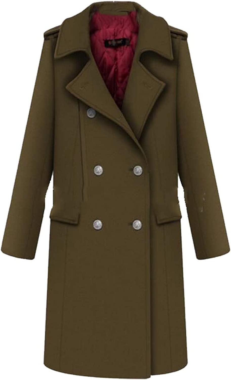 Gocgt Women Winter Lapel Double Breasted Wool Trench Coat Long Overcoat
