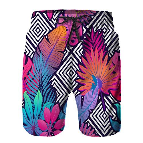 Aerokarbon Hombres Playa Bañador Shorts,Hojas exóticas Flores en Adorno geométrico,Traje de baño con Forro de Malla de Secado rápido XL