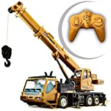 Wghz Alloy Material Remote Control Dump Truck Big Model Bulldozer Crane Trucks Strong Power Outdoor Crawler Crane Bulldozers RC Excavator Electric (Color : Style 1, Size : One Set of Batteries)