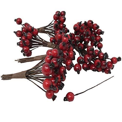 FloristryWarehouse Künstliche rote Hagebuttenbeeren 6mm (x144) Alternative zu Weihnachten Holly Beeren
