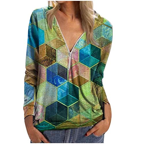LAIYIFA Tops for Women V Neck Blouse Loose T Shirts Long Sleeve Ladies Sweater Comfortable Spring Autumn Winter Sweatshirts Fashion Tunic Jumper Women Clothes Geometric Color Block Print