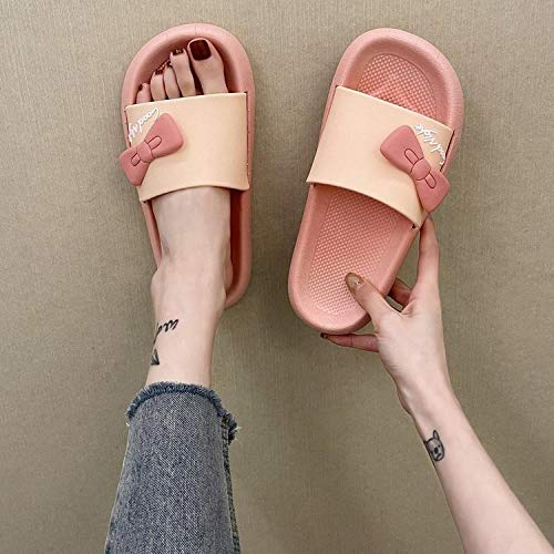 HUSHUI Sommer Schlappen Damen,Soft Bottom Home Bad Hausschuhe, Cartoon Schleife Sandalen-Pink_41,Bequeme Schlappen