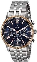 Titan Blue Dial Multifunction Watch for Men 1734KM01 Black