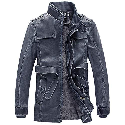Loeay Chaqueta Casual para Hombre Classic Vintage Casual Motocicleta/Moto Bombardero Abrigos de Cuero Moda Ropa Cazadora Azul XL