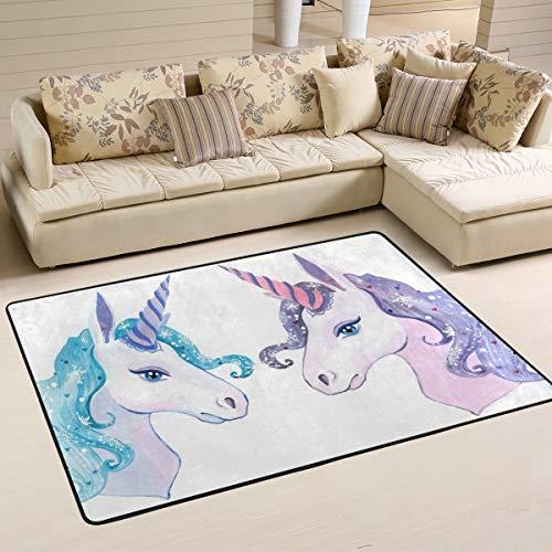 JSTEL - Felpudo de poliéster, diseño de unicornio, cuadrado, antideslizante, lavable, para sala de estar, dormitorio, alfombra de 61 x 91 cm