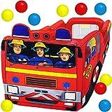 alles-meine.de GmbH 3 in 1: Bällepool / Kugelbad / Planschbecken - Feuerwehrmann Sam - Feuerwehrauto - mit 10 Stück Bälle - 1 m - groß - eckig Wasser Pool aufblasbar / - für INNE..