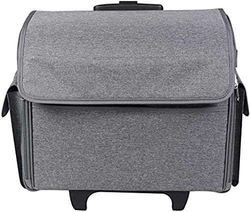 Everything Mary Sewing Machine Rolling Carrying Case, Grey Heather - Portable Trolley with Wheels for Brother, Bernina, Singer, & Most Machines - Wheeled Tote Carrier for Notions & Crafts