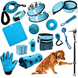 Setonware-Premium Blue Puppy Starter Kit – Suministros para perros, accesorios y artículos esenciales. El kit de 23 piezas para cachorros de AMZngPETS tiene una correa, collar, ayudas de entrenamiento, cuencos, juguetes y más para tu nuevo cachorro