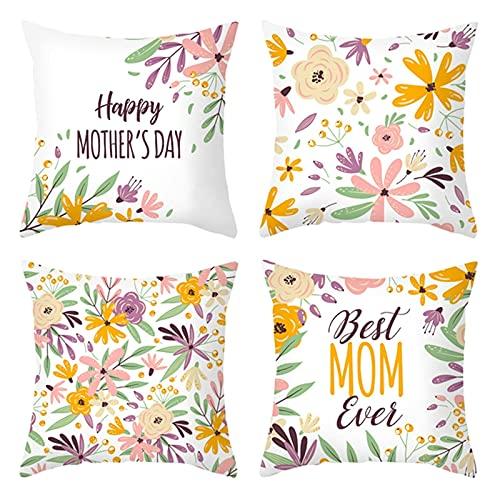 Daesar Set de 4 Fundas para Cojin,Funda de Cojin Sin Relleno,Happy Mother's Day Best MOM Ever Flores Fundas Cojin 45x45 Estampado Oro Rosa Púrpura