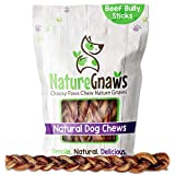 Nature Gnaws Braided Bully Sticks for Large Dogs - Premium Natural...