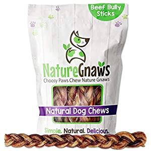 Nature Gnaws Braided Bully Sticks for Large Dogs – Premium Natural Beef Bones – Long Lasting Dog Chew Treats for Aggressive Chewers – Rawhide Free – 12 Inch (5 Count)