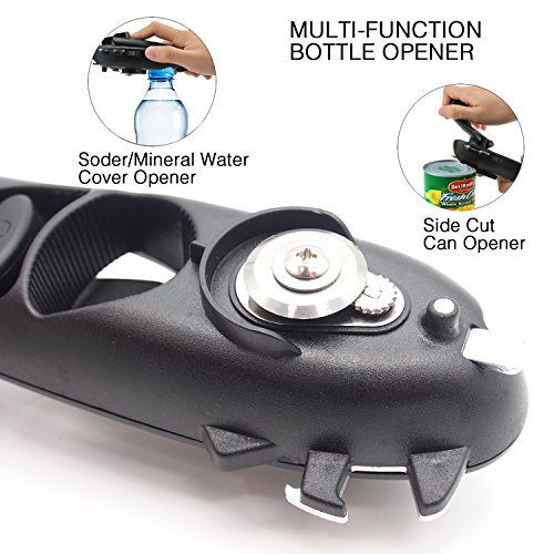 Can Opener Manual Smooth Edge Can Opener Side Cut Heavy Duty Opener Safety Bottle Opener Durable Stainless Steel Cutting Tool Sharp Cutting Wheel Easy Turn Knob Anti-Slip Handle fit for Seniors