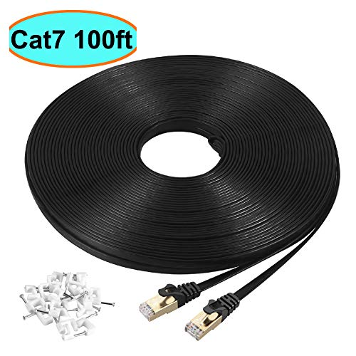 Cat7 Ethernet Cable 100 ft Black Shielded (STP), AULLOV High Speed...