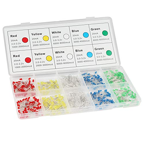 DiCUNO 500Pcs (5 Colors x 100P) 3MM Light Emitting Diode, White/Red/Yellow/Green/Blue Bright Diffused LED Diodes Assorted Kit for Electronic Project, Science Experiments