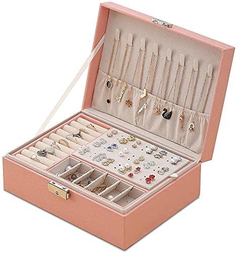 Aexle Joyero para mujer de doble capa de piel sintética para anillos, pendientes, pulseras, collares, joyas, organizador, caja de regalo para niñas y mujeres (rosa)