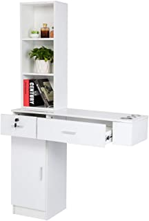 Mefeir Upgraded Wall Mount Hair Styling Barber Station, Beauty Salon Spa Furniture Set, Hair Salon Equipment, 2 Drawers+1Cabinet+3 Shelves (White)