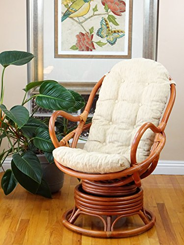 Java Lounge Swivel Rocking Chair with Cream Cushion Natural...