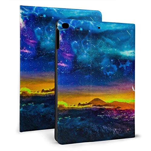 HleHjum Ipad case Purple BlueRomantic Starry Sky Little Girl Slim Lightweight Smart Shell Stand Cover Case for7th 10.2 inch