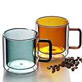 Juego de 2 tazas de vidrio de doble pared con asas, aisladas de doble pared, resistentes al calor, capuchino, latte y té,...