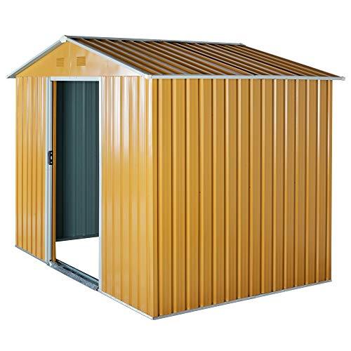 Outsunny Caseta de Jardín de 4,1m² Cobertizo Exterior para Almacenar Herramientas con Puertas Correderas de Acero Galvanizado 236x174x190 cm Amarillo Mostaza